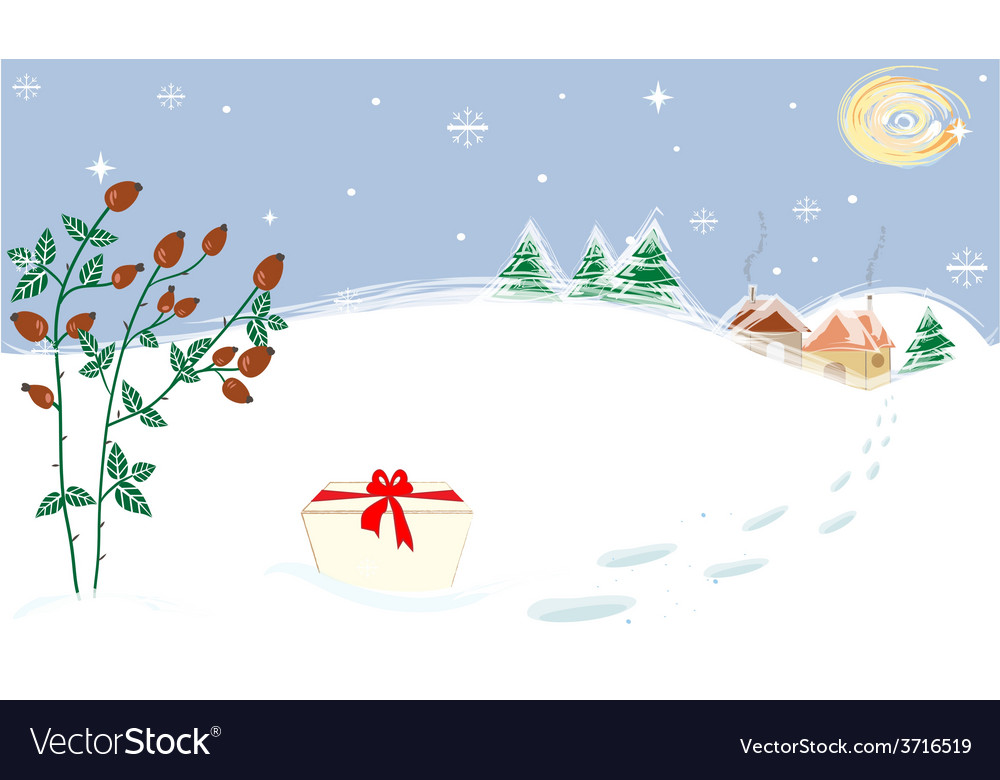 Winter landscape stars moon briar present vector | Price: 1 Credit (USD $1)