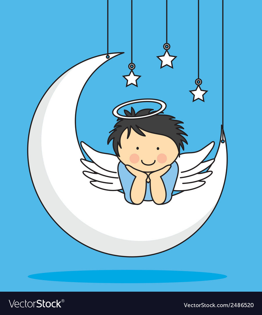 Angel on a moon vector | Price: 1 Credit (USD $1)