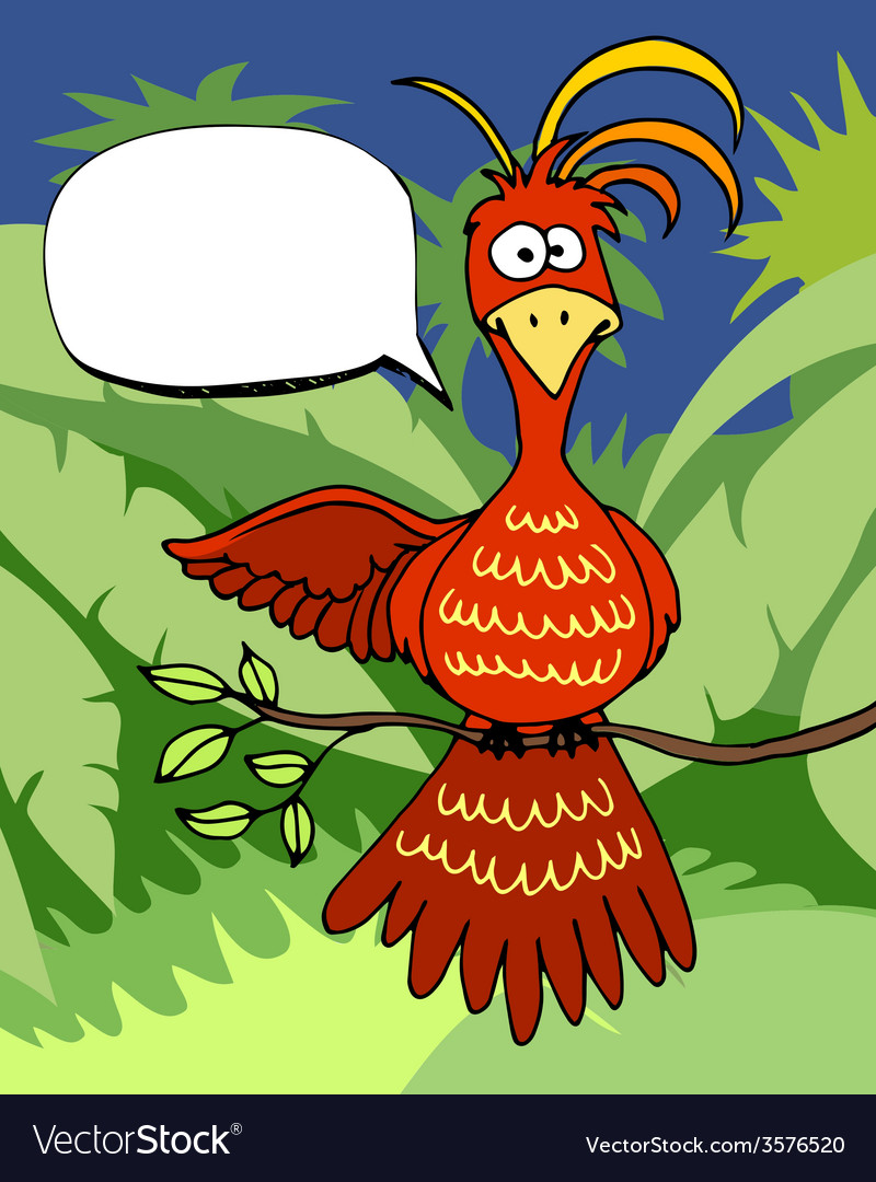 Cute cartoon bird with a speech bubble vector | Price: 1 Credit (USD $1)