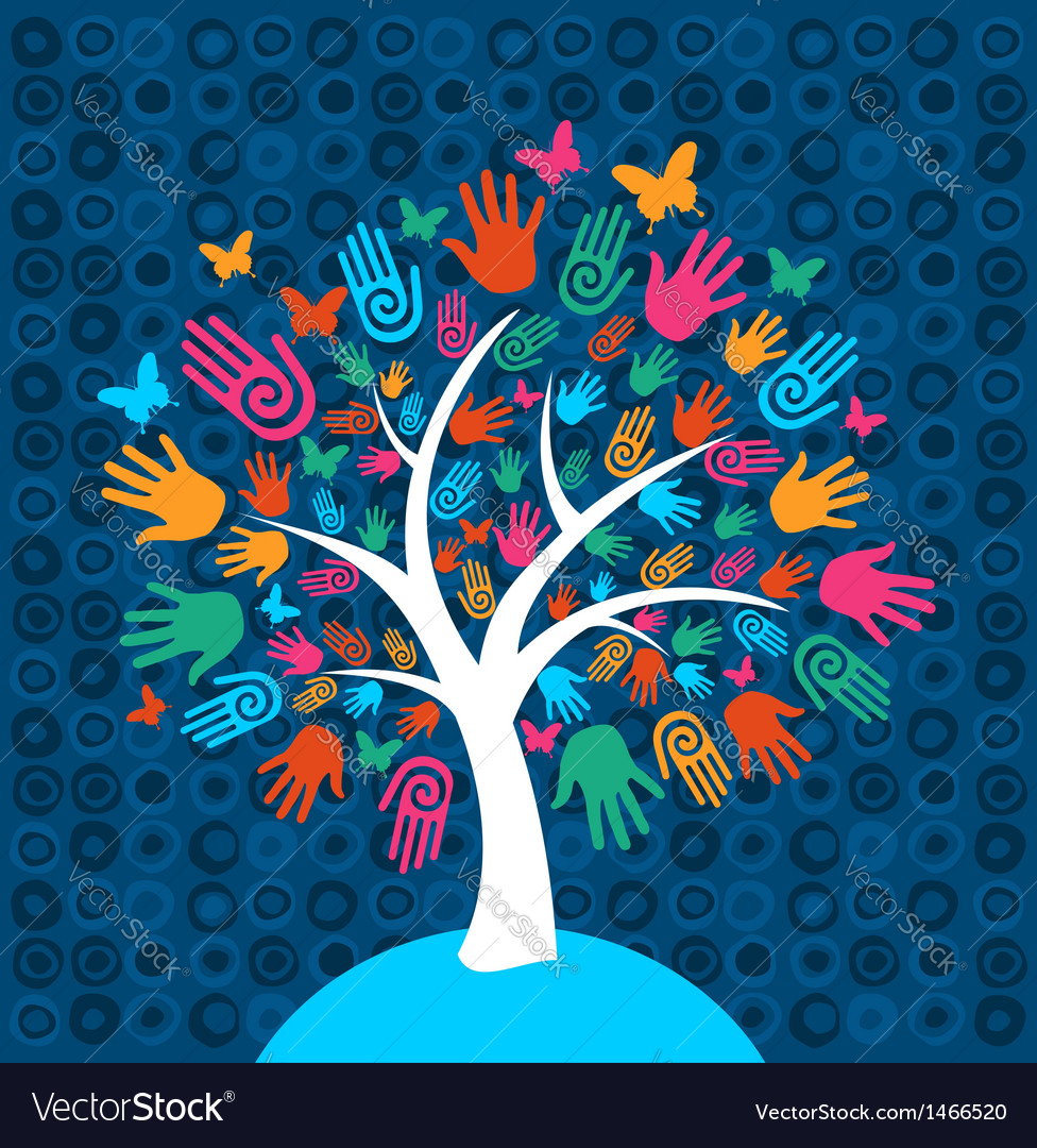 Diversity tree hands background vector | Price: 1 Credit (USD $1)