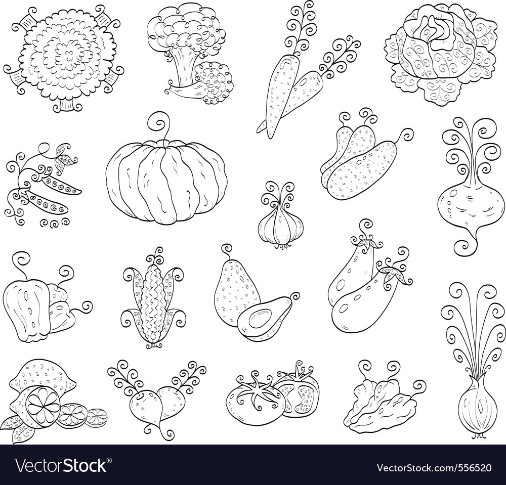 Doodle fruits and vegetables vector | Price: 1 Credit (USD $1)