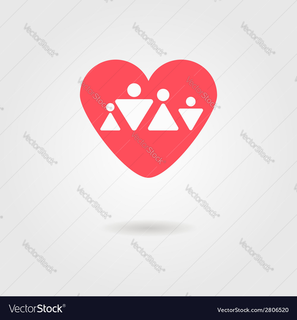 Family heart icon vector | Price: 1 Credit (USD $1)