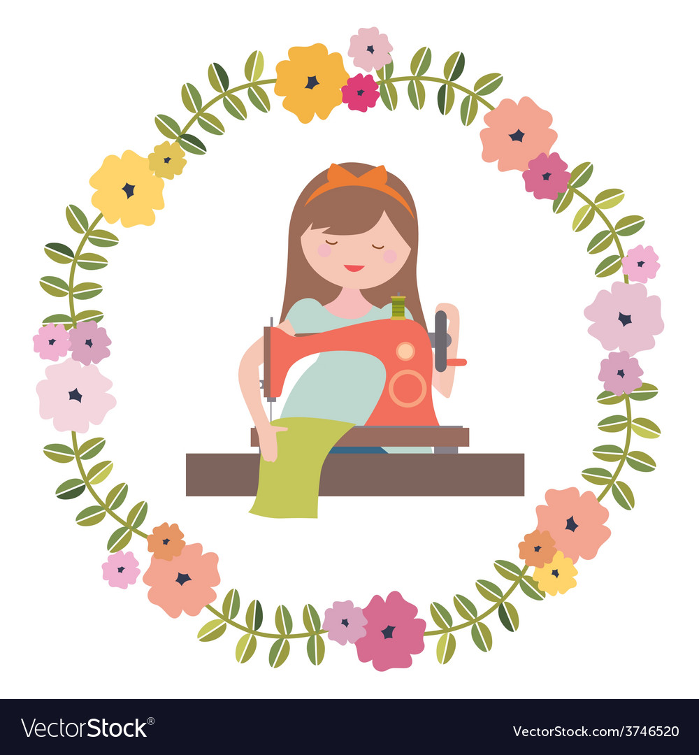 Girl with sewing machine and floral wreath vector | Price: 1 Credit (USD $1)