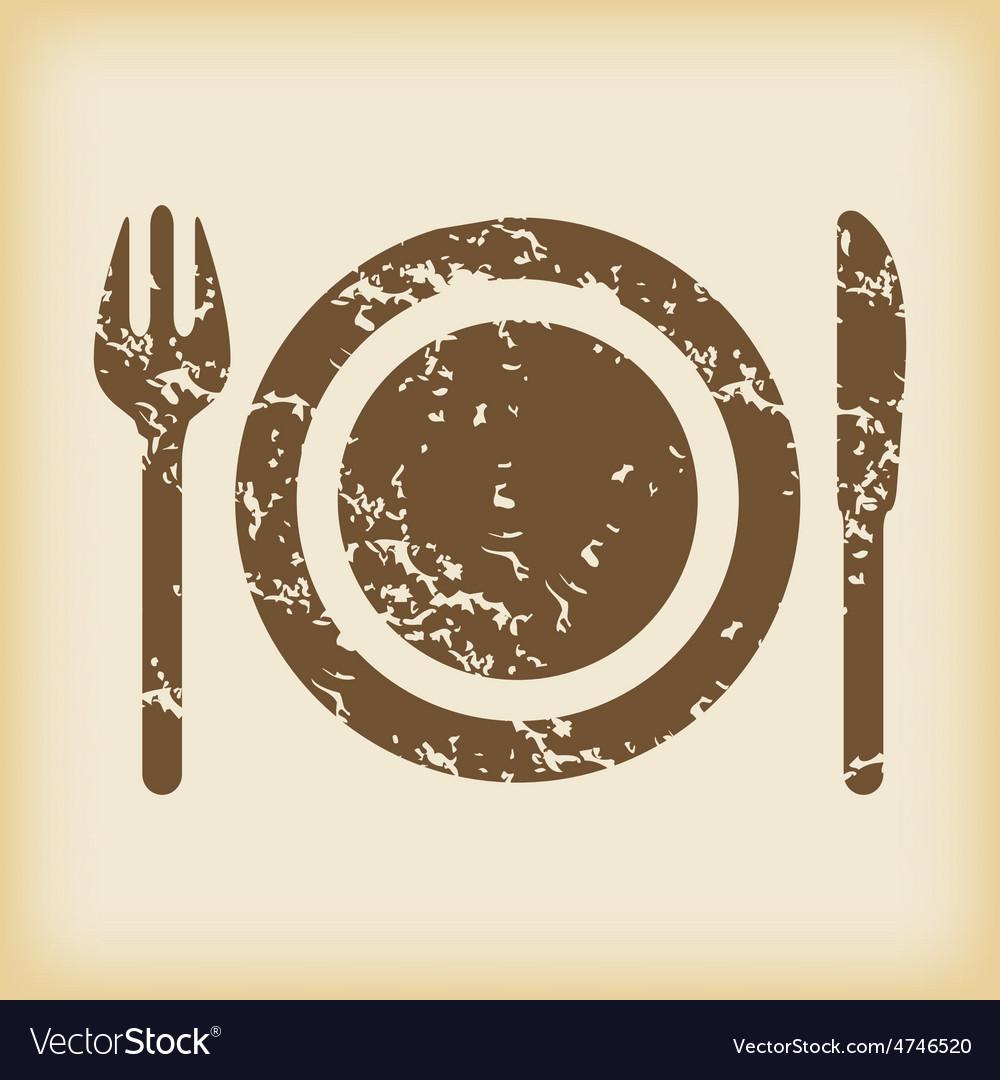 Grungy dishware icon vector | Price: 1 Credit (USD $1)