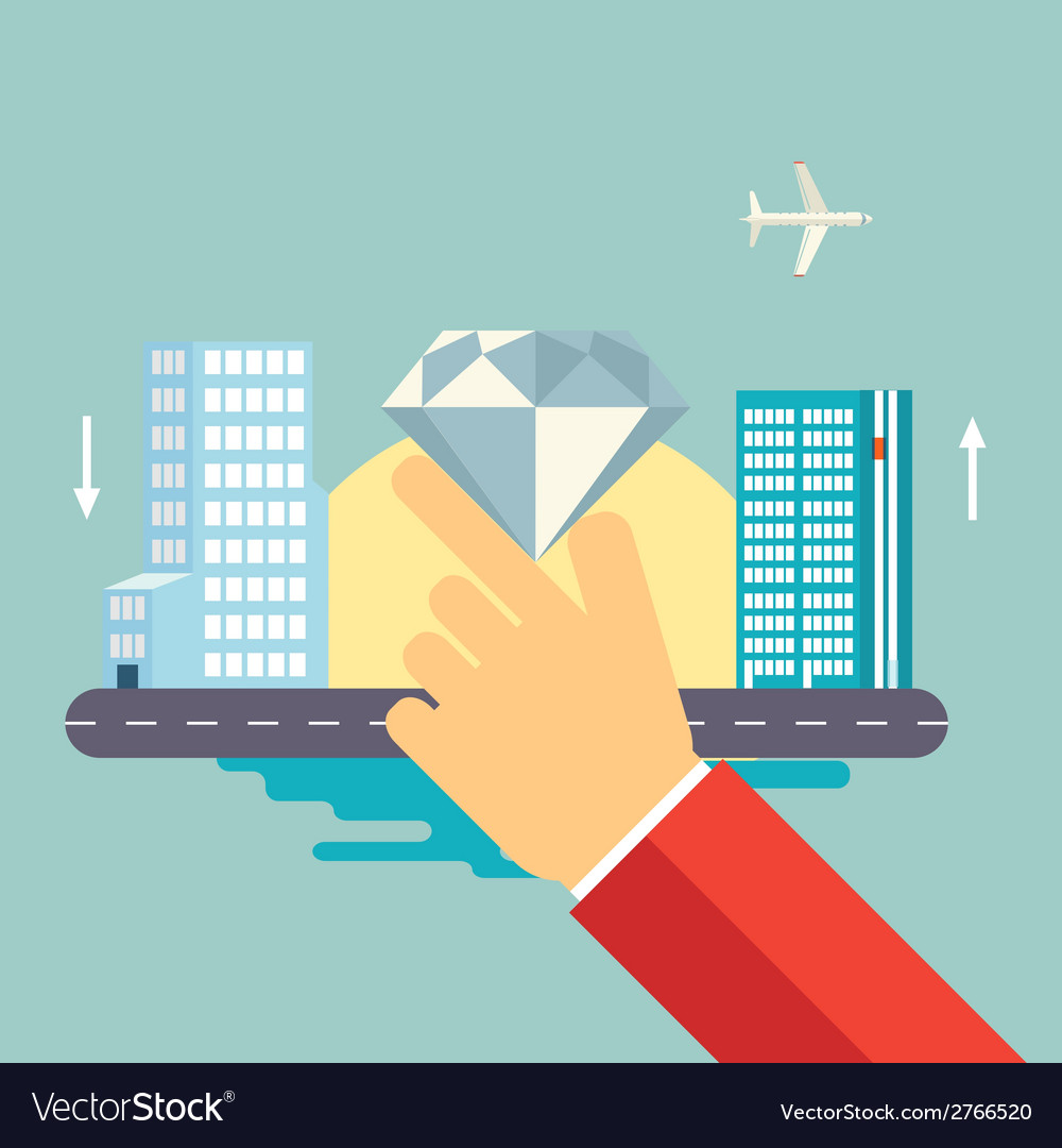 Hand holds a jewel on urban landscape icon vector | Price: 1 Credit (USD $1)
