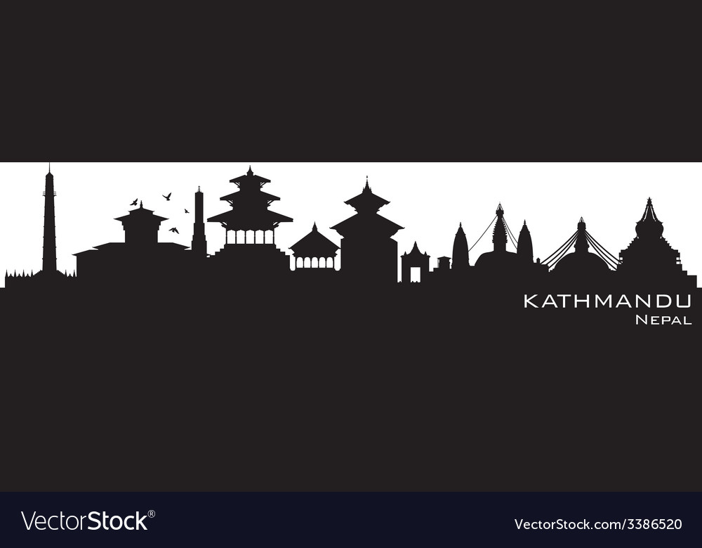 Kathmandu nepal skyline detailed silhouette vector | Price: 1 Credit (USD $1)
