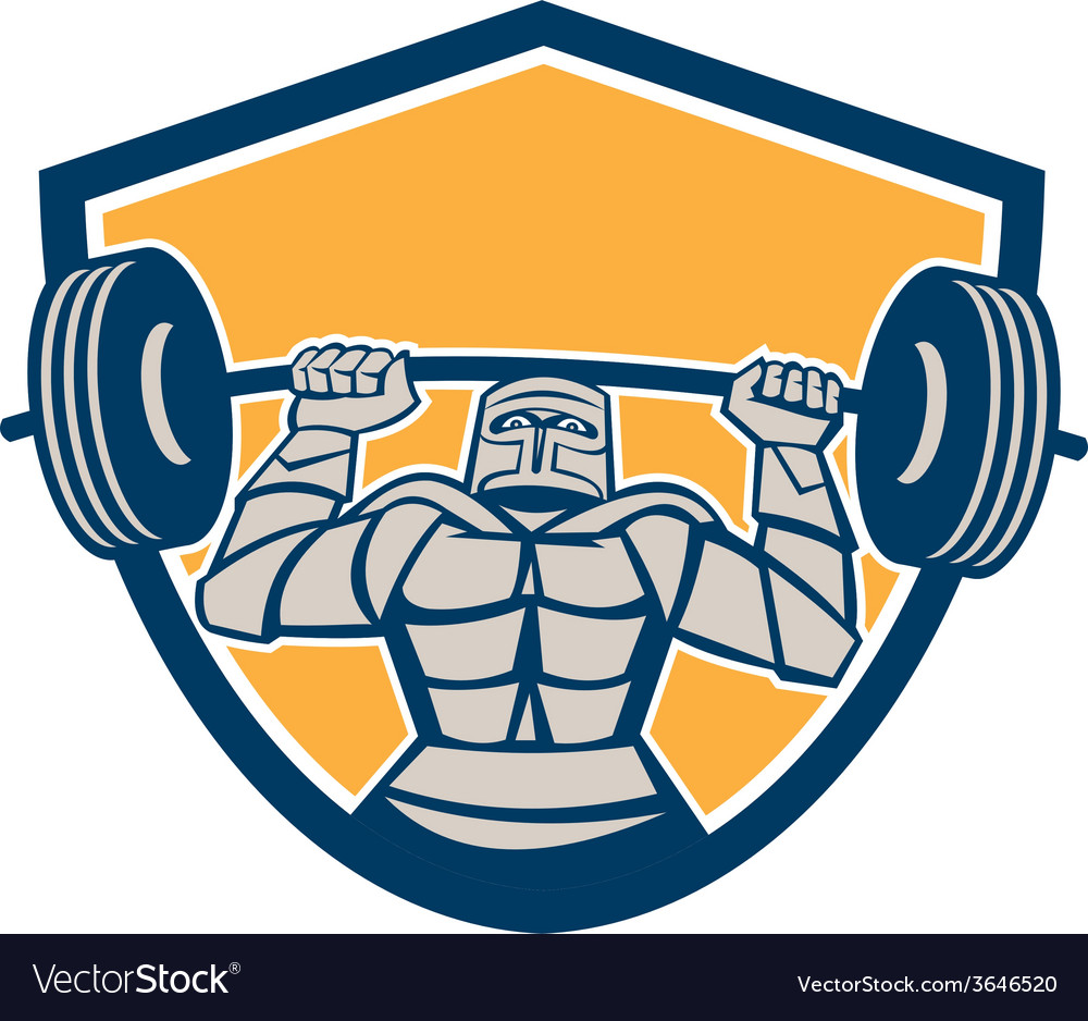 Knight lifting barbell weights shield retro vector | Price: 1 Credit (USD $1)