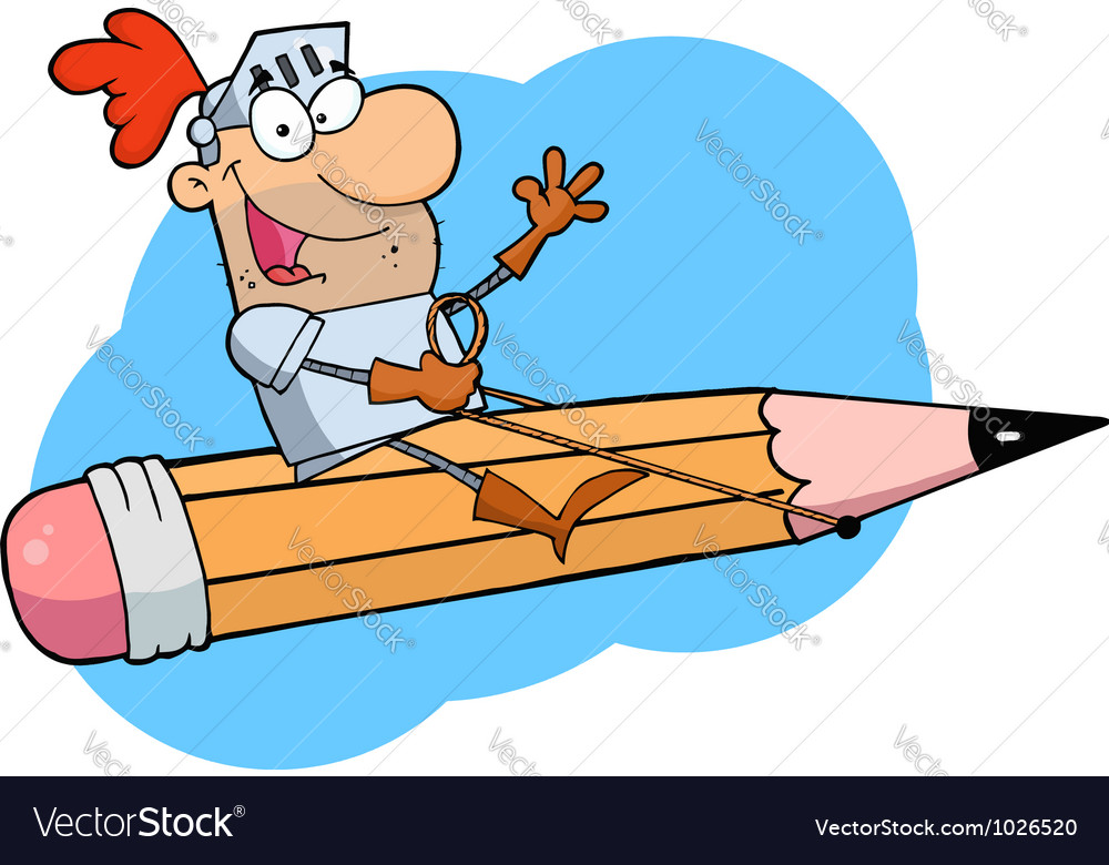 Knight man riding on a giant pencil over blue vector   Price: 1 Credit (USD $1)