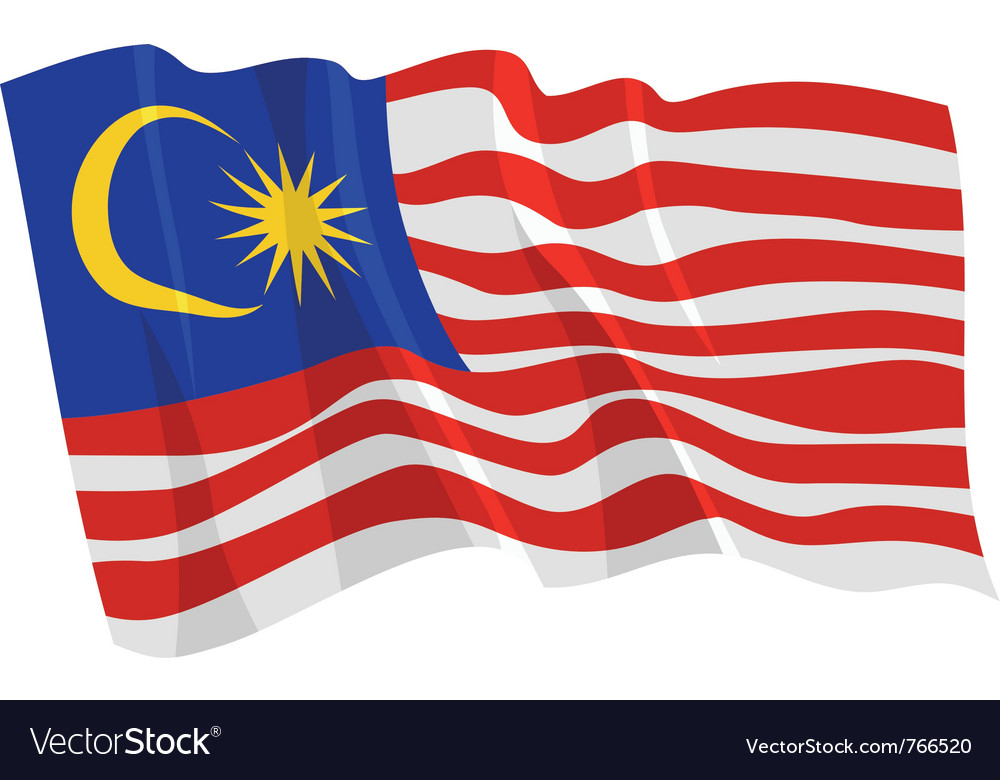 Political waving flag of malaysia vector | Price: 1 Credit (USD $1)