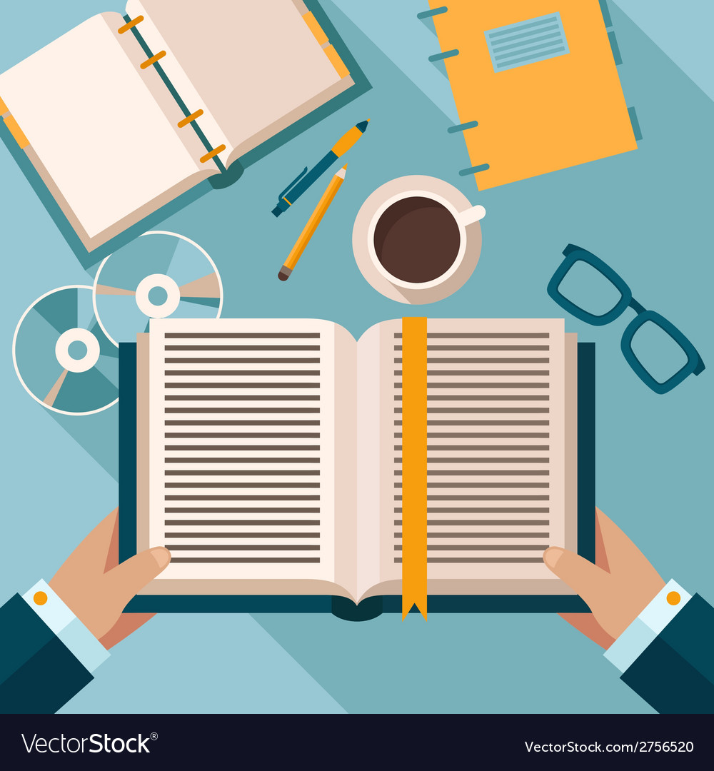 Reading books on desktop vector | Price: 1 Credit (USD $1)