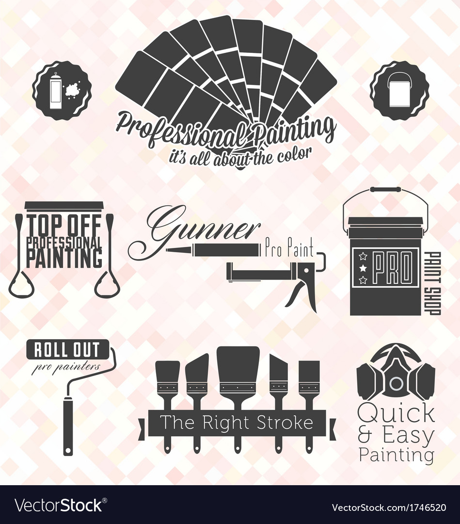 Retro painting service labels and icons vector | Price: 1 Credit (USD $1)