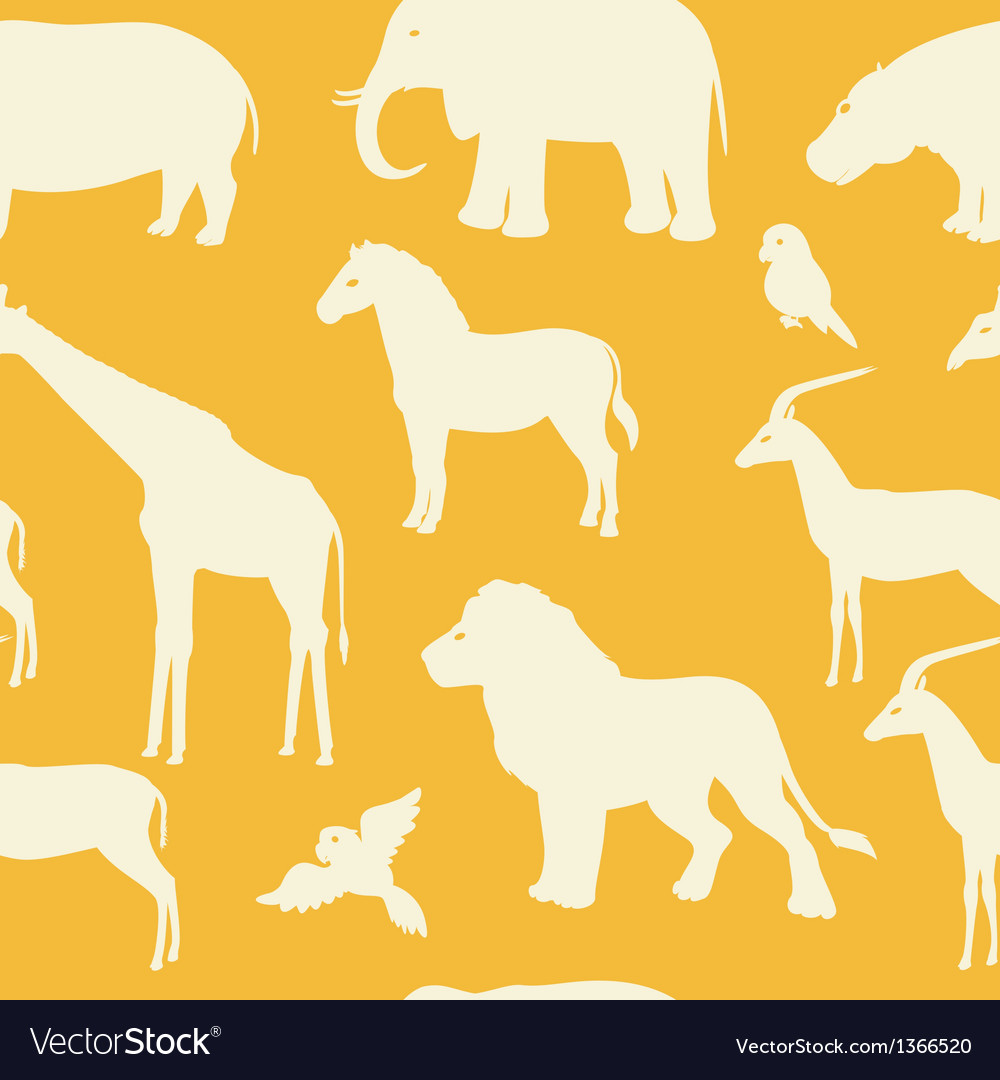 Seamless pattern with african animal silhouettes vector | Price: 1 Credit (USD $1)