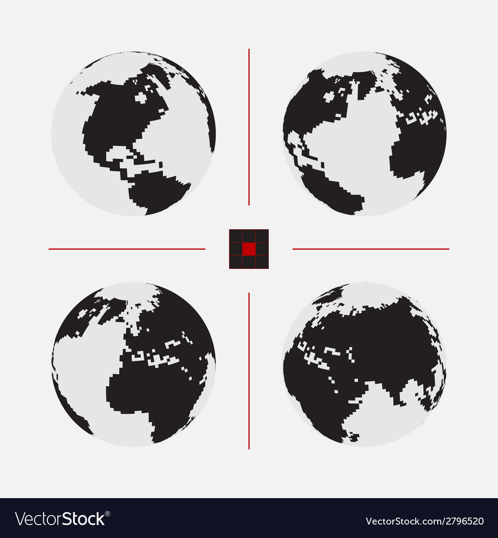 Set of dotted world maps in different resolution vector | Price: 1 Credit (USD $1)
