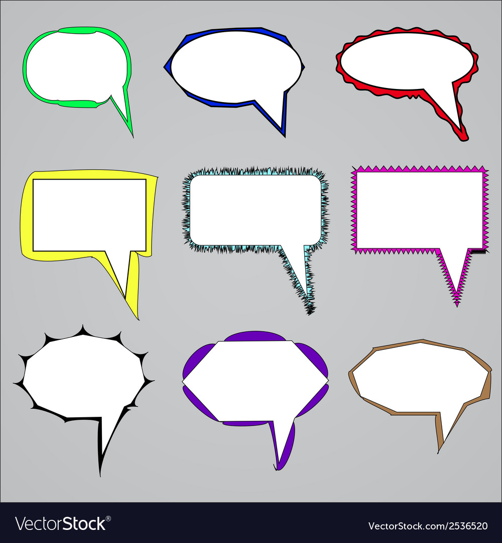 Set of speech and think bubbles vector | Price: 1 Credit (USD $1)