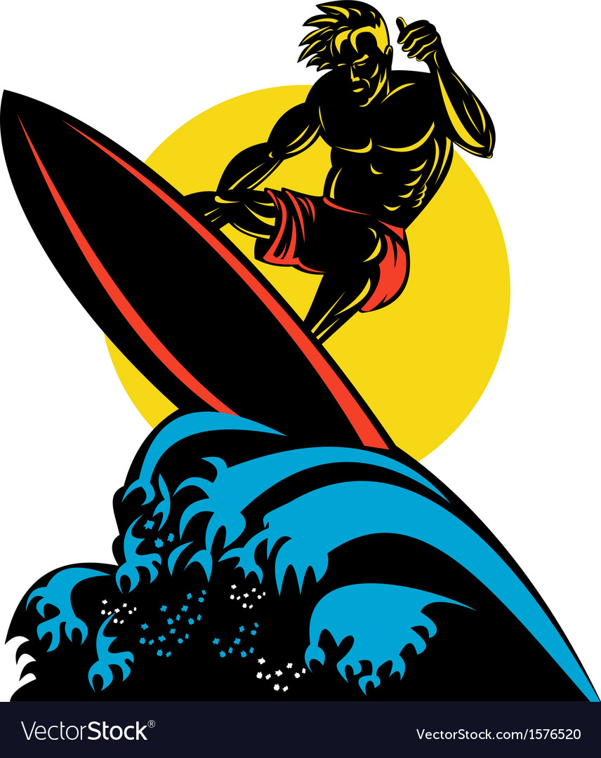 Surfer wave retro vector | Price: 1 Credit (USD $1)