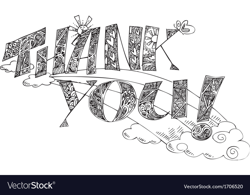 Thank you sketchy doodles vector | Price: 1 Credit (USD $1)