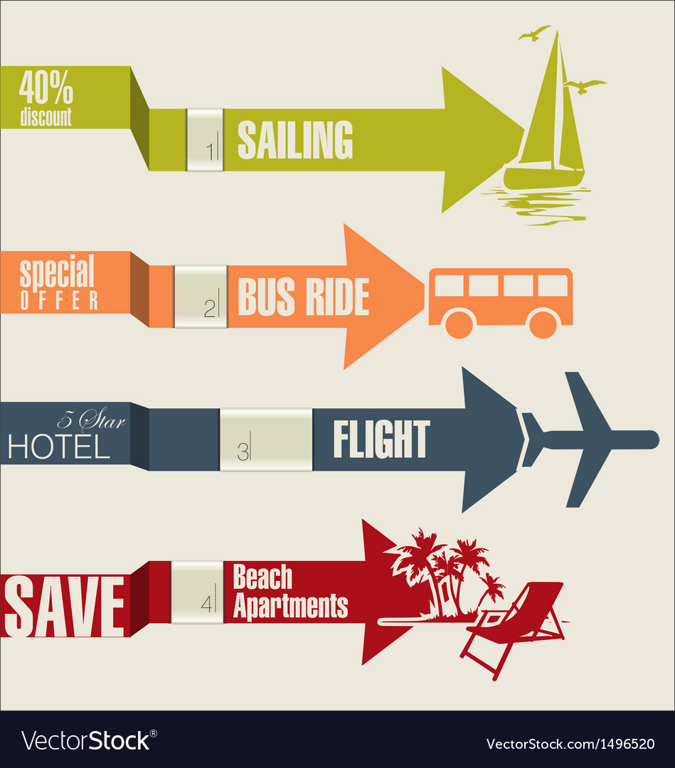 Travel infographics options banner with arrows vector | Price: 1 Credit (USD $1)