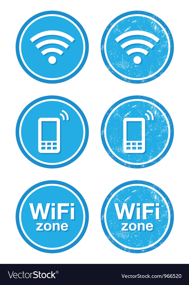 Wifi internet zone blue vintage labels set vector | Price: 1 Credit (USD $1)