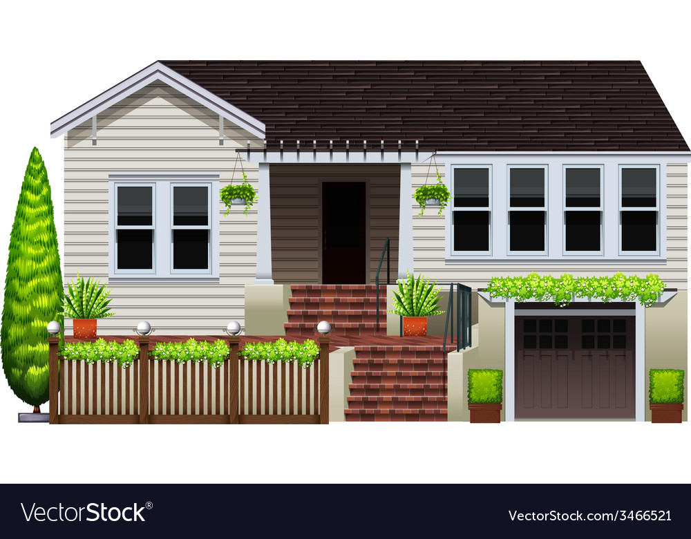 A house with plants vector | Price: 3 Credit (USD $3)