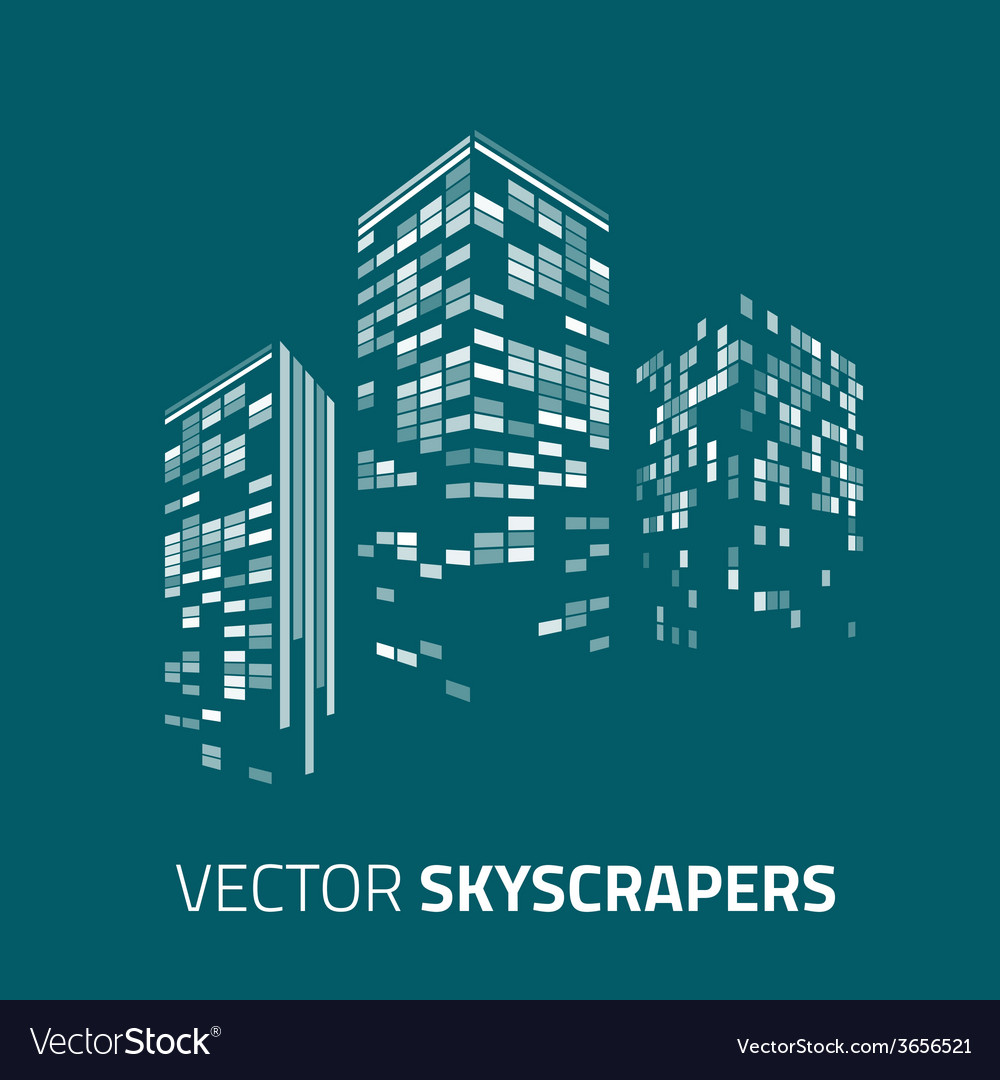 City background - skyscrapers with lights vector