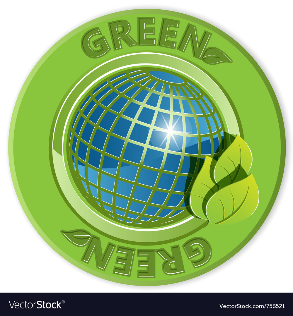 Eco green label vector | Price: 1 Credit (USD $1)