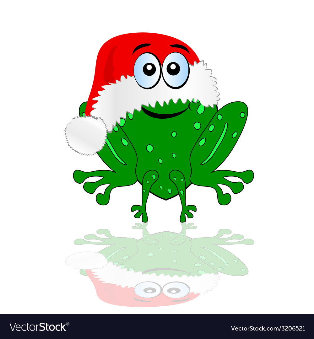 Green frog with christmas red hat vector | Price: 1 Credit (USD $1)