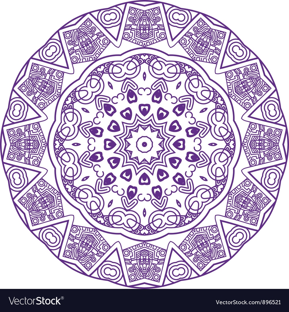 Round ornament in violet color vector | Price: 1 Credit (USD $1)