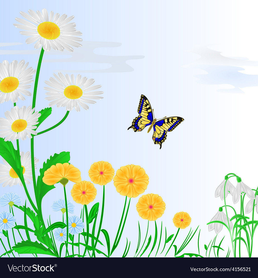 Spring flowers and butterfly blue background vector | Price: 1 Credit (USD $1)