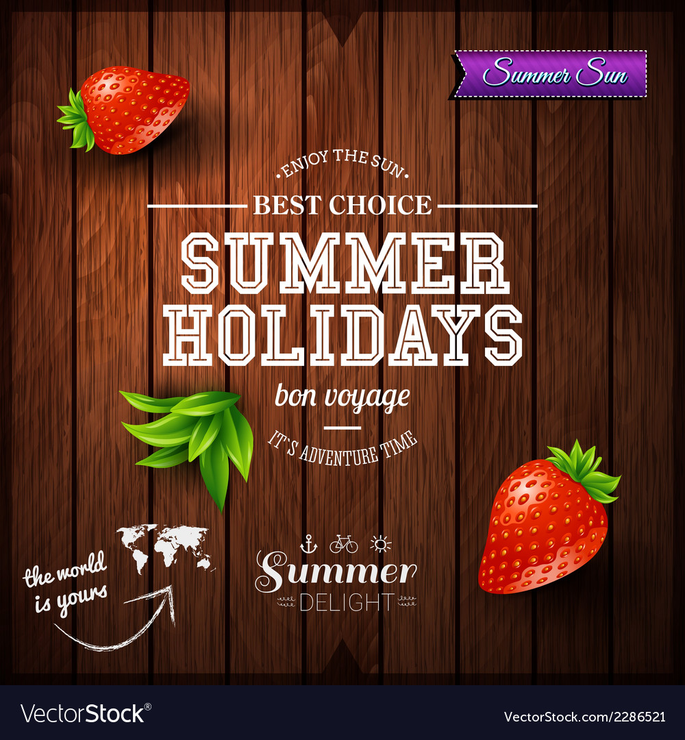 Summer design poster for summer holidays wooden vector | Price: 1 Credit (USD $1)