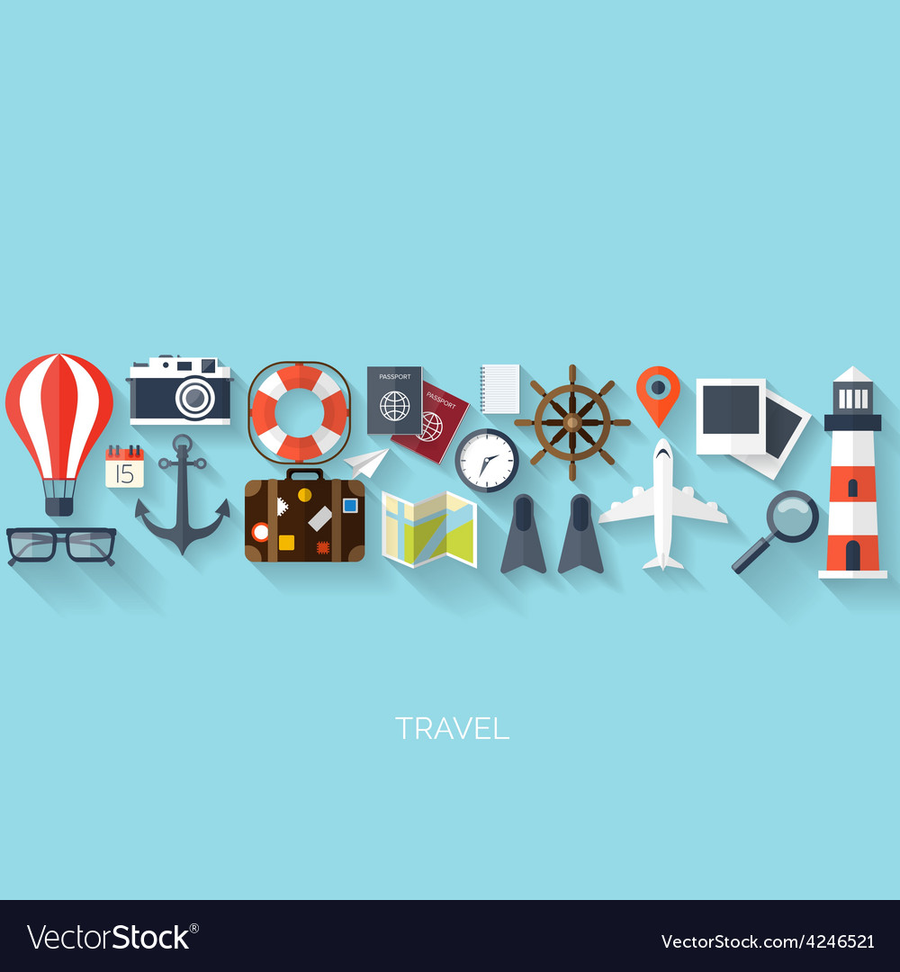 World travel concept background flat icons vector   Price: 1 Credit (USD $1)