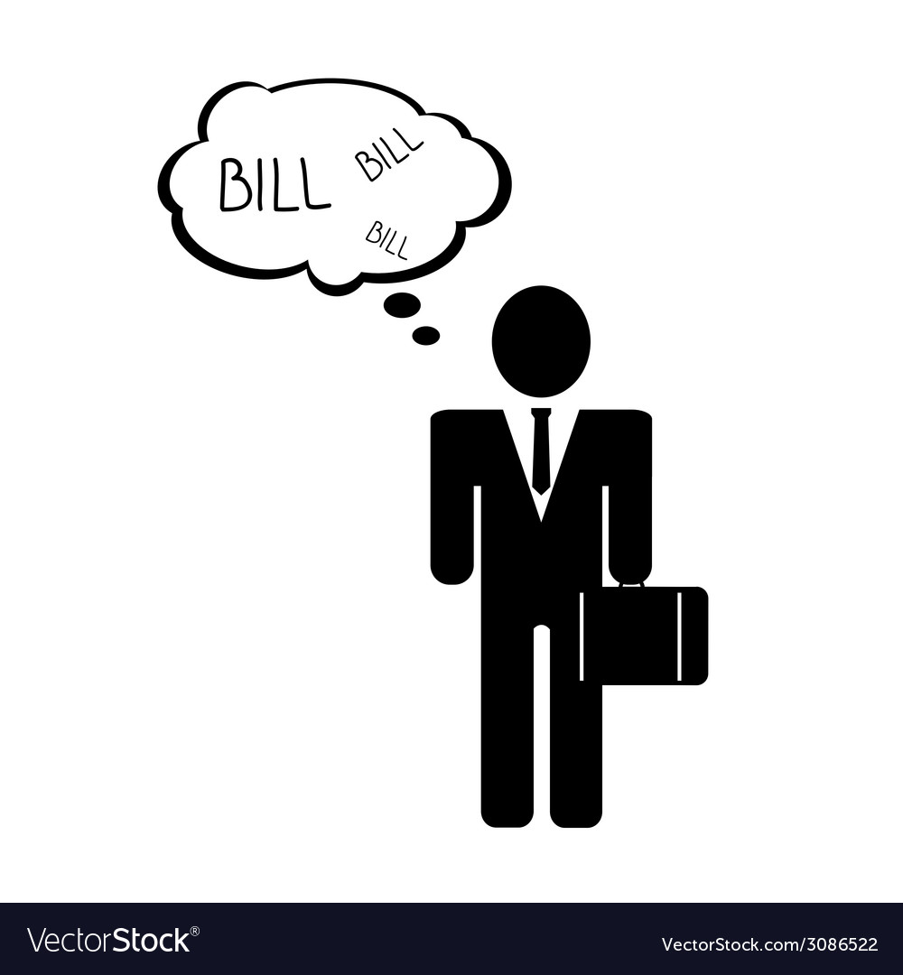 Bill with man icon vector | Price: 1 Credit (USD $1)