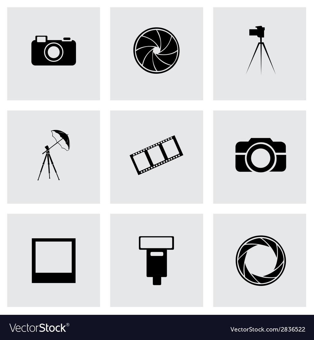 Black photo icons set vector | Price: 1 Credit (USD $1)