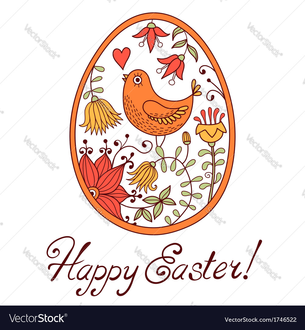 Easter egg drawn by hand in the style of cartoon vector | Price: 1 Credit (USD $1)