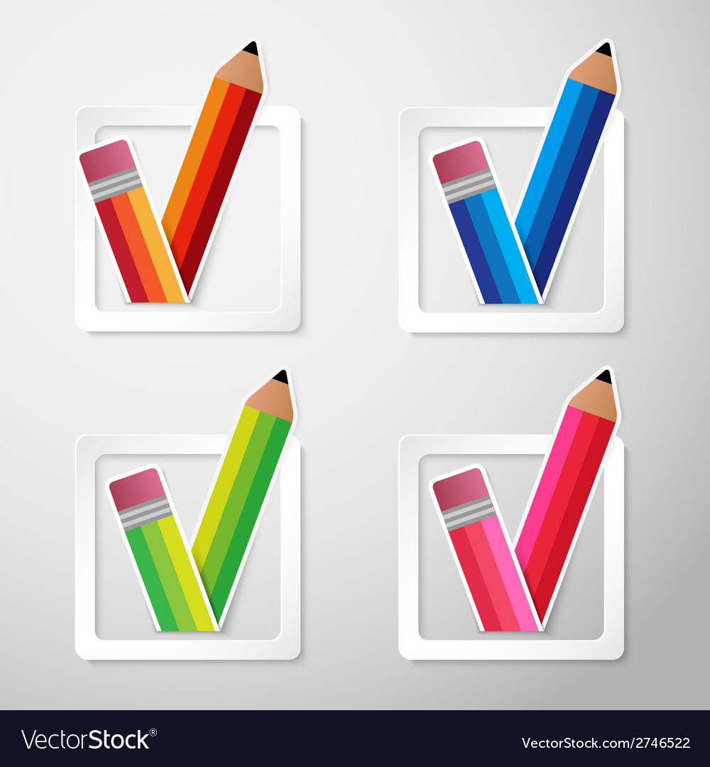 Flat color paper pencils check box vector | Price: 1 Credit (USD $1)