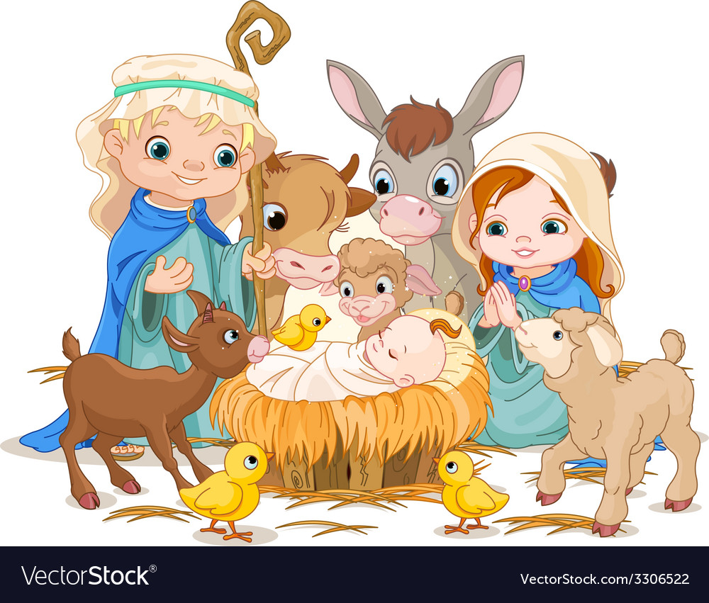 Holy family at christmas night vector | Price: 5 Credit (USD $5)