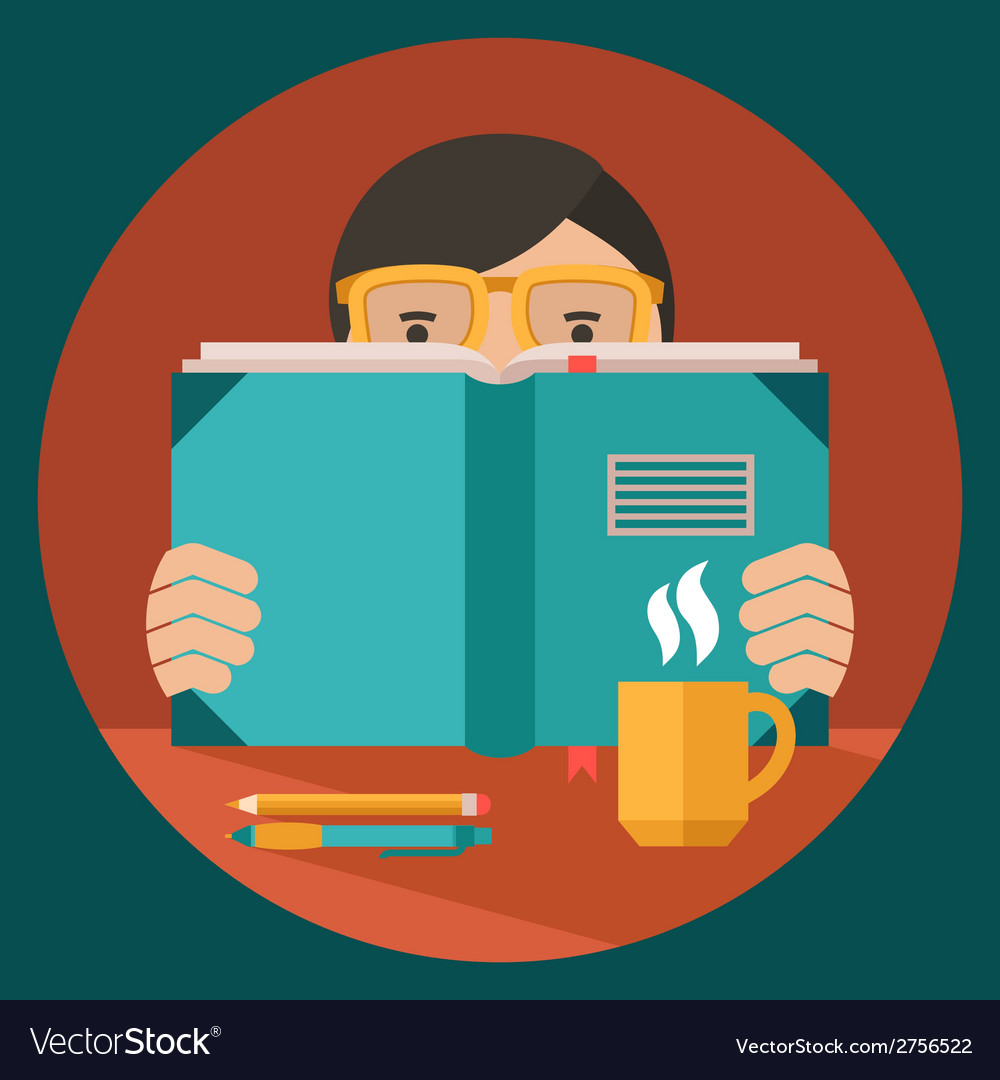 Man reading book vector | Price: 1 Credit (USD $1)