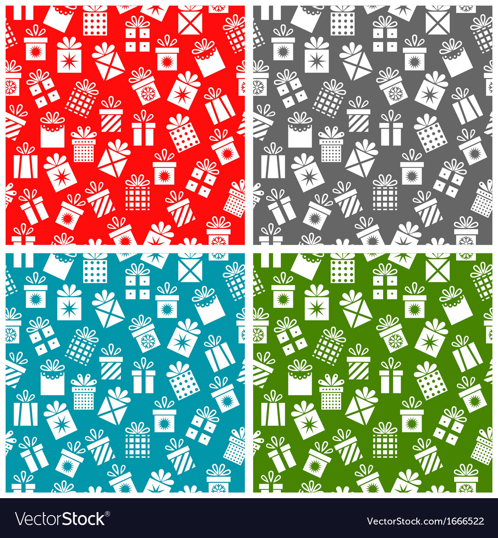 Set christmas patterns with gift boxes on a color vector | Price: 1 Credit (USD $1)