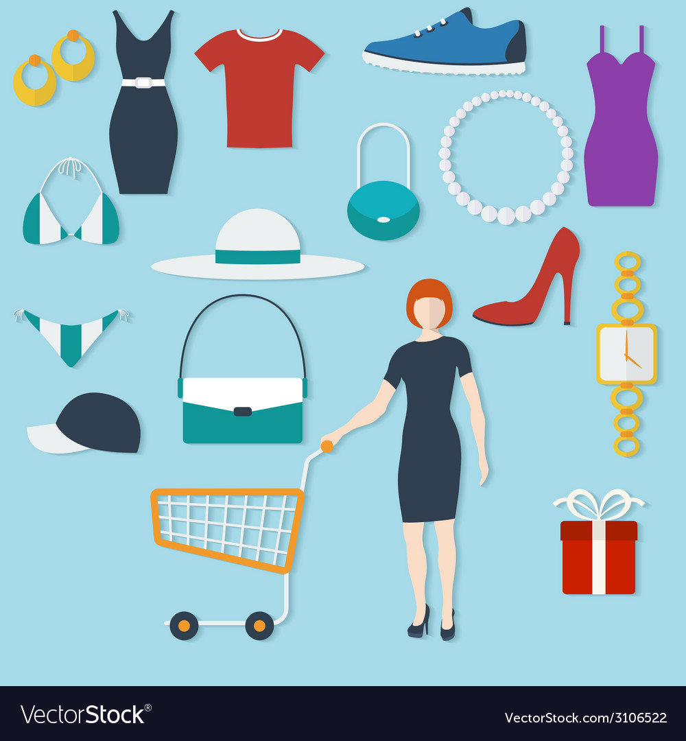 Shopping concept with flat icons and women with vector | Price: 1 Credit (USD $1)