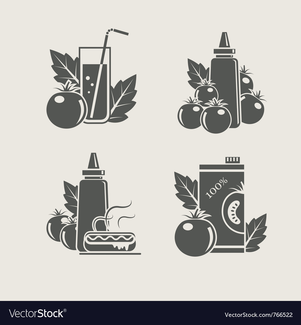 Tomato products set icons vector | Price: 1 Credit (USD $1)