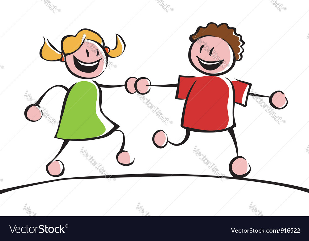 Two kids holding hands vector | Price: 1 Credit (USD $1)