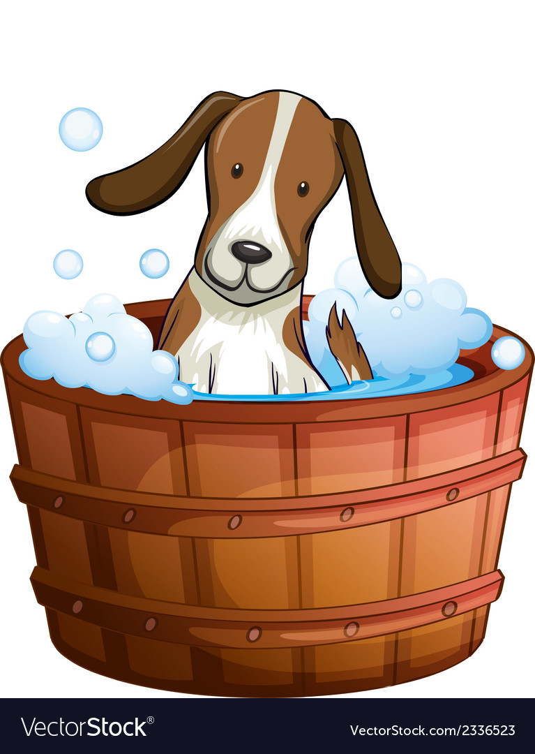 A dog taking a bath at the bathtub vector | Price: 1 Credit (USD $1)