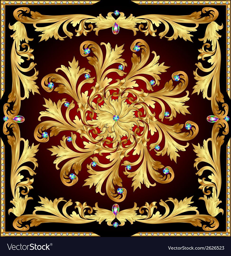 Background with a rosette of gold vector | Price: 1 Credit (USD $1)
