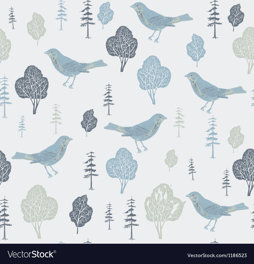 Birds and trees seamless pattern vector | Price: 1 Credit (USD $1)