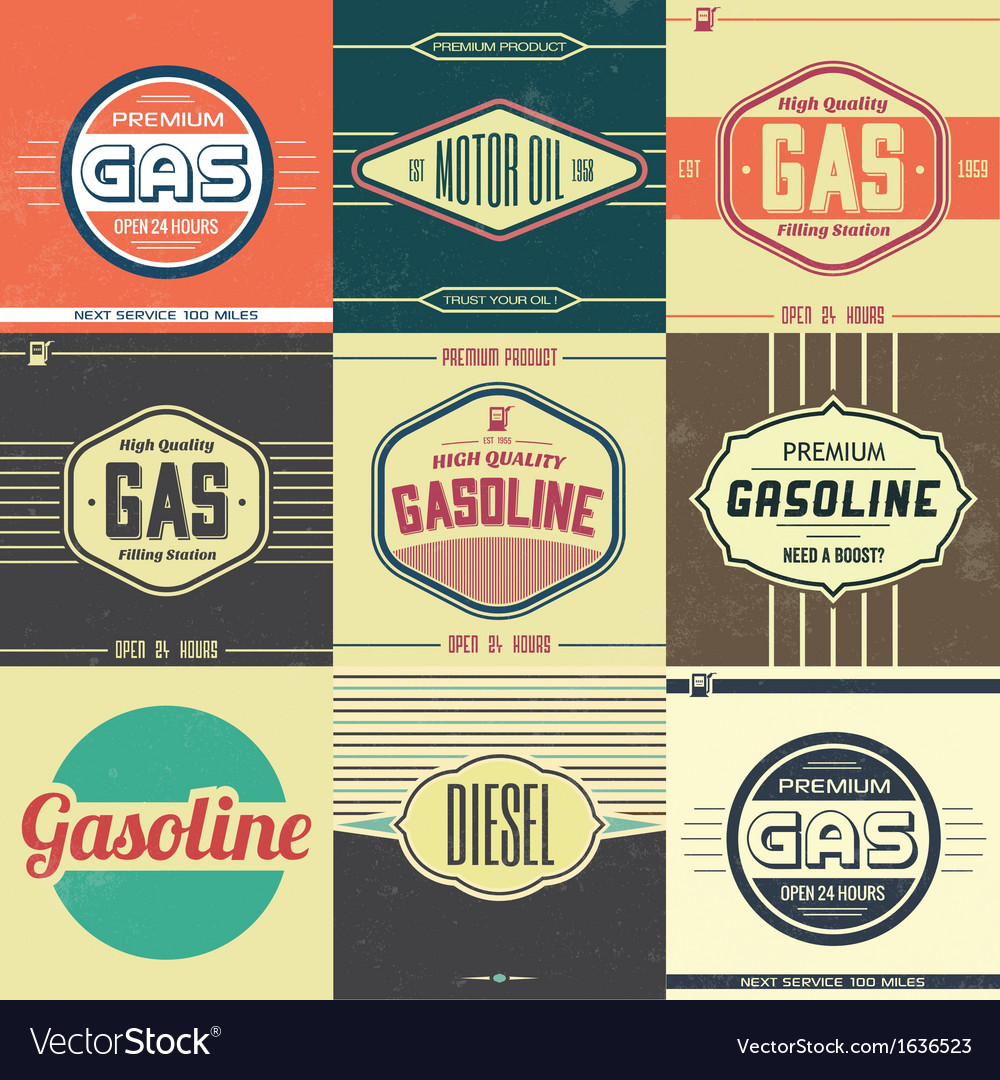Collection of retro gasoline signs motor oil vector | Price: 1 Credit (USD $1)