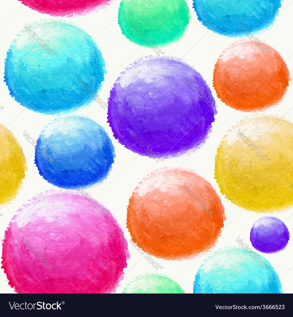 Colorful watercolor ball seamless pattern vector | Price: 1 Credit (USD $1)