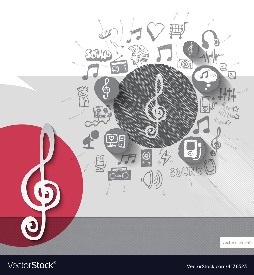 Hand drawn treble clef icons with icons background vector | Price: 1 Credit (USD $1)