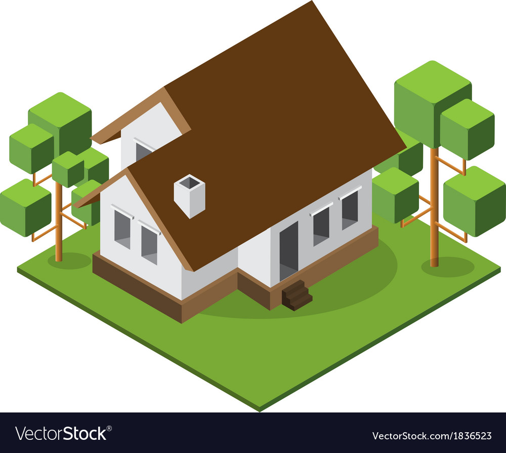 Isometric medium house 380 vector | Price: 1 Credit (USD $1)