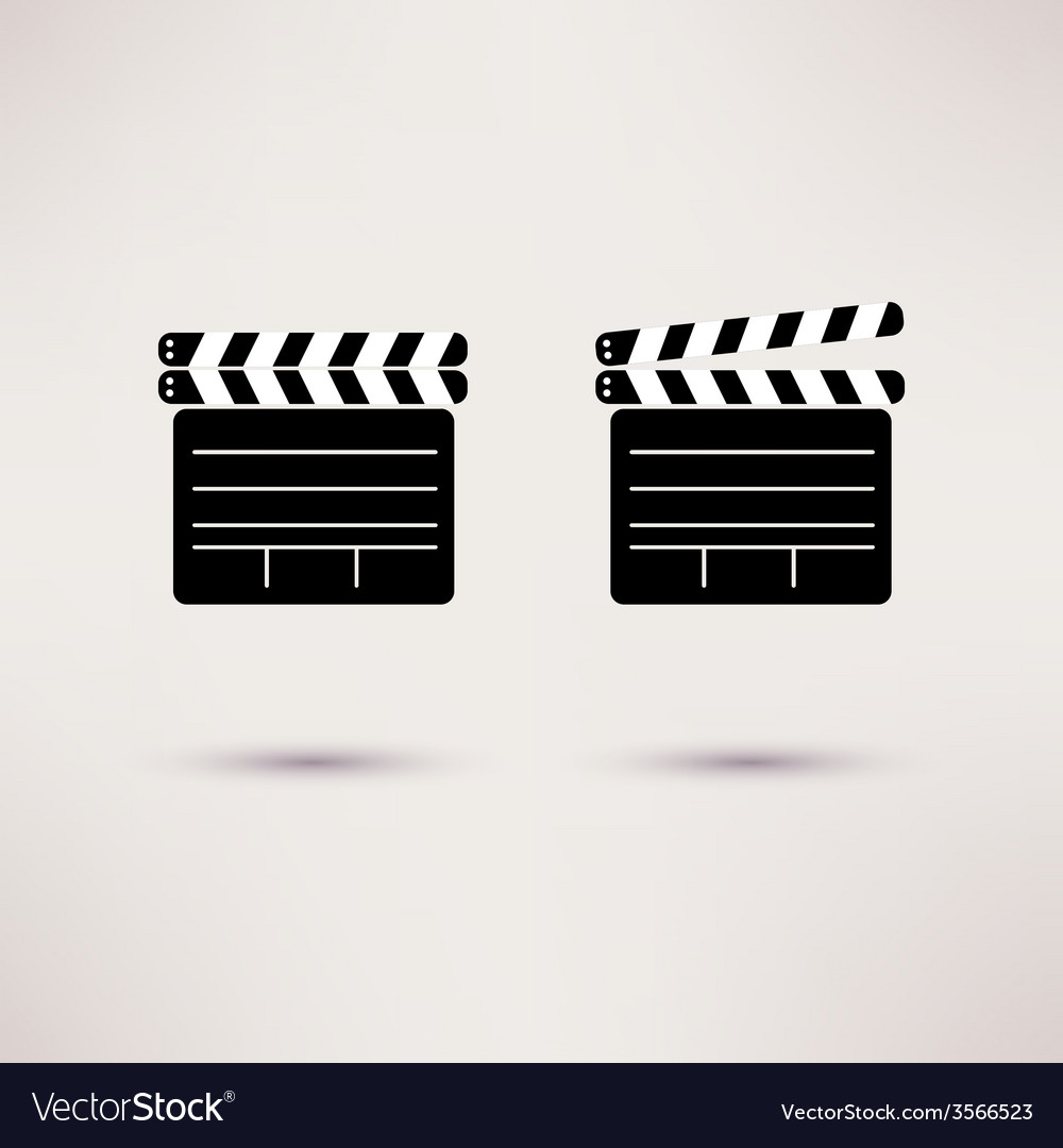 Movie clapper set of icons in a flat style vector | Price: 1 Credit (USD $1)