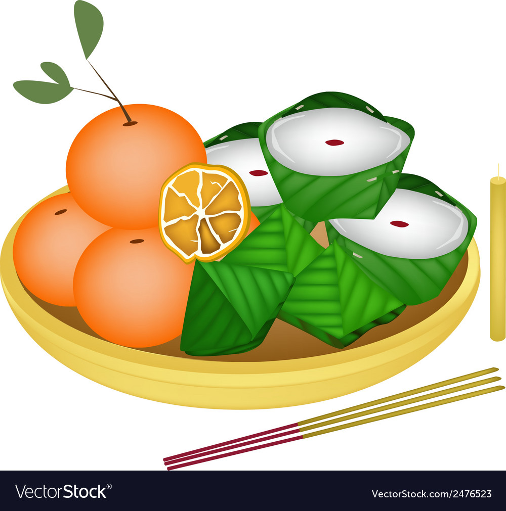 Pyramid dessert and chinese pudding with orange vector | Price: 1 Credit (USD $1)