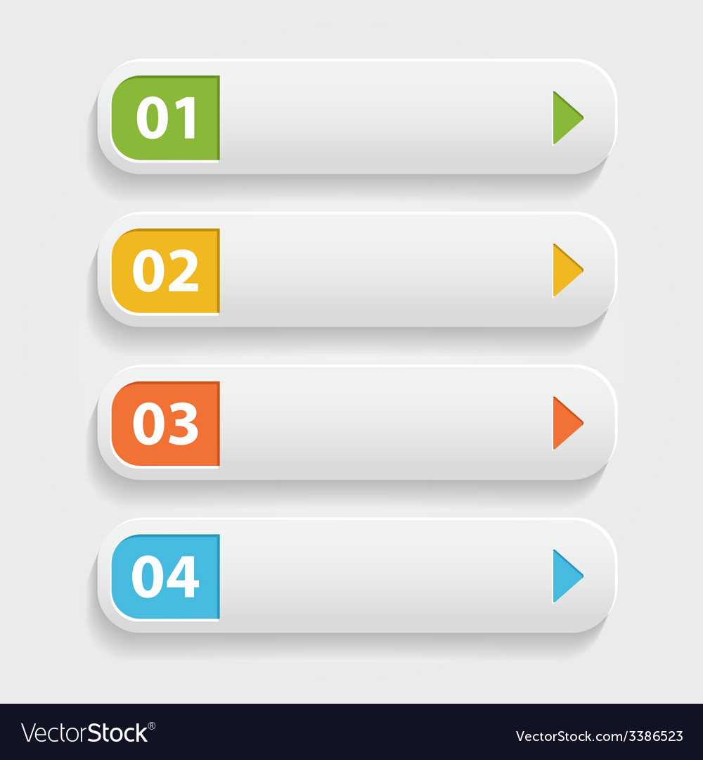 Realistic web buttonsinfographic with numbers over vector   Price: 1 Credit (USD $1)
